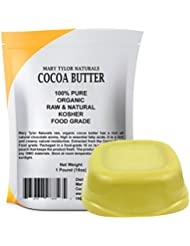 Organic Cocoa Butter Large 1 lb Bar by Mary Tylor Naturals, Raw Unrefined Food Grade, Non-Deodorized, Rich In Antioxidants Great For DIY Recipes, Lip Balms, Lotions, Creams, Stretch Marks