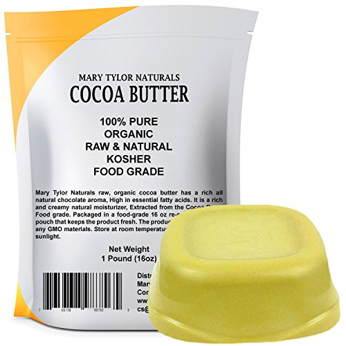 Organic Cocoa Butter Large 1 lb Bar by Mary Tylor Naturals, Raw Unrefined Food Grade, Non-Deodorized, Rich In Antioxidants Great For DIY Recipes, Lip Balms, Lotions, Creams, Stretch Marks (Edible Butter Cocoa)