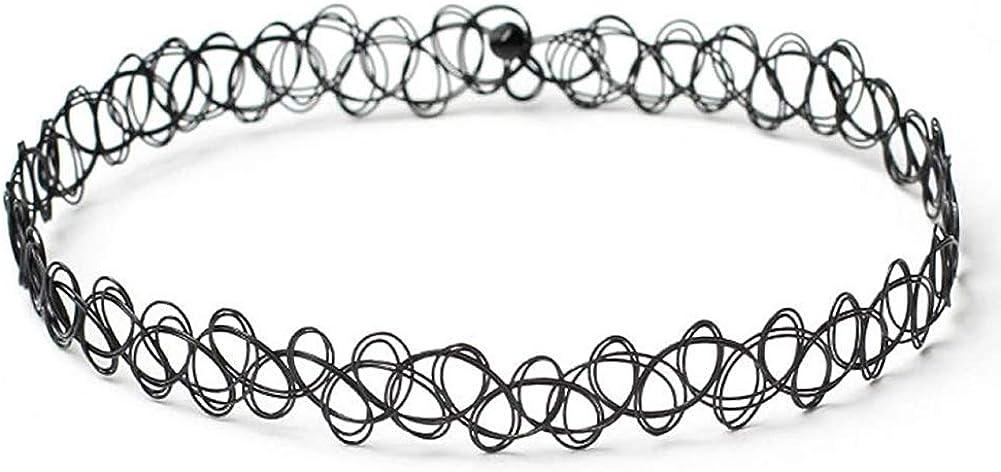 ROOYA 6 Pieces Black Velvet Choker Necklaces Set Gothic Stretch Tattoo Choker Elastic Tassel Pendant Necklaces Adjustable for Women Girls