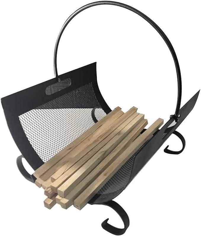 YCDJCS Cestas de leña Firewood Rack Tronc Soporte portátil Negro Titular de Registro Jaula Mango Manejo Cesta de leña Accesorio de Incendio de Acero (Color : Black, Size : 32 * 35.5 * 44.5 cm)