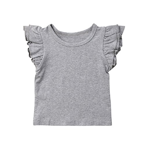 Mubineo Toddler Baby Girl Basic Plain Ruffle Sleeve Cotton T Shirts Tops Tee Clothes (Grey, 6-12 (Ruffle Tee Top)