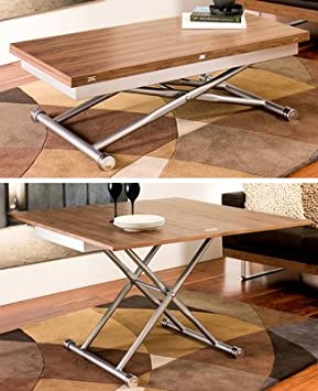 Rise extending coffee table walnut Amazoncouk Kitchen Home