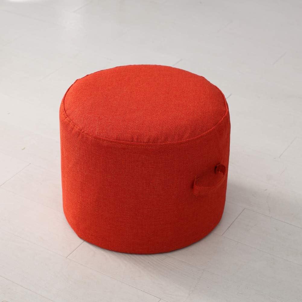 GWFVA Pouf Pouf Pouf Poggiapiedi Poggiapiedi Rimovibile Pouf Pouf Imbottitura per Sedile Sgabello per Bambini Fodera per Sedia in Cotone e Lino-Arancione 40x40x20cm