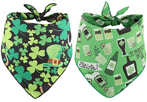 BoomBone 2 Pack St Patricks Day Dog Bandana,Triangle Bibs Pet Scarf for Medium to Large Dogs