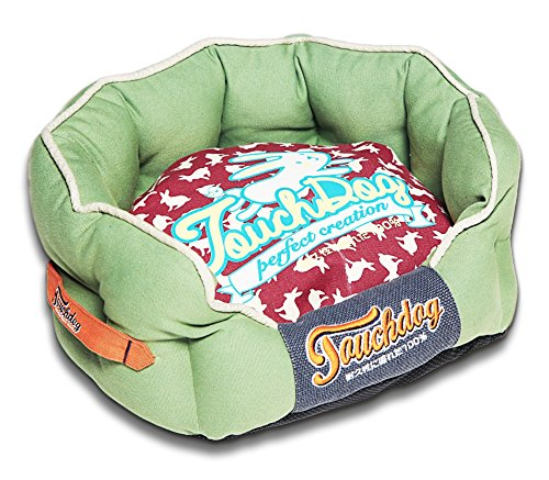 TOUCHDOG 'Lazy-Bones' Rabbit-Spotted Premium Rounded Fashion Designer Pet Dog Bed Lounge, Medium, Olive Green, Champaign Red Review