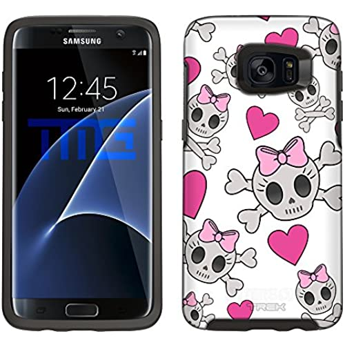 Skin Decal for Otterbox Symmetry Samsung Galaxy S7 Edge Case - Cutie Skulls Pink on White Sales