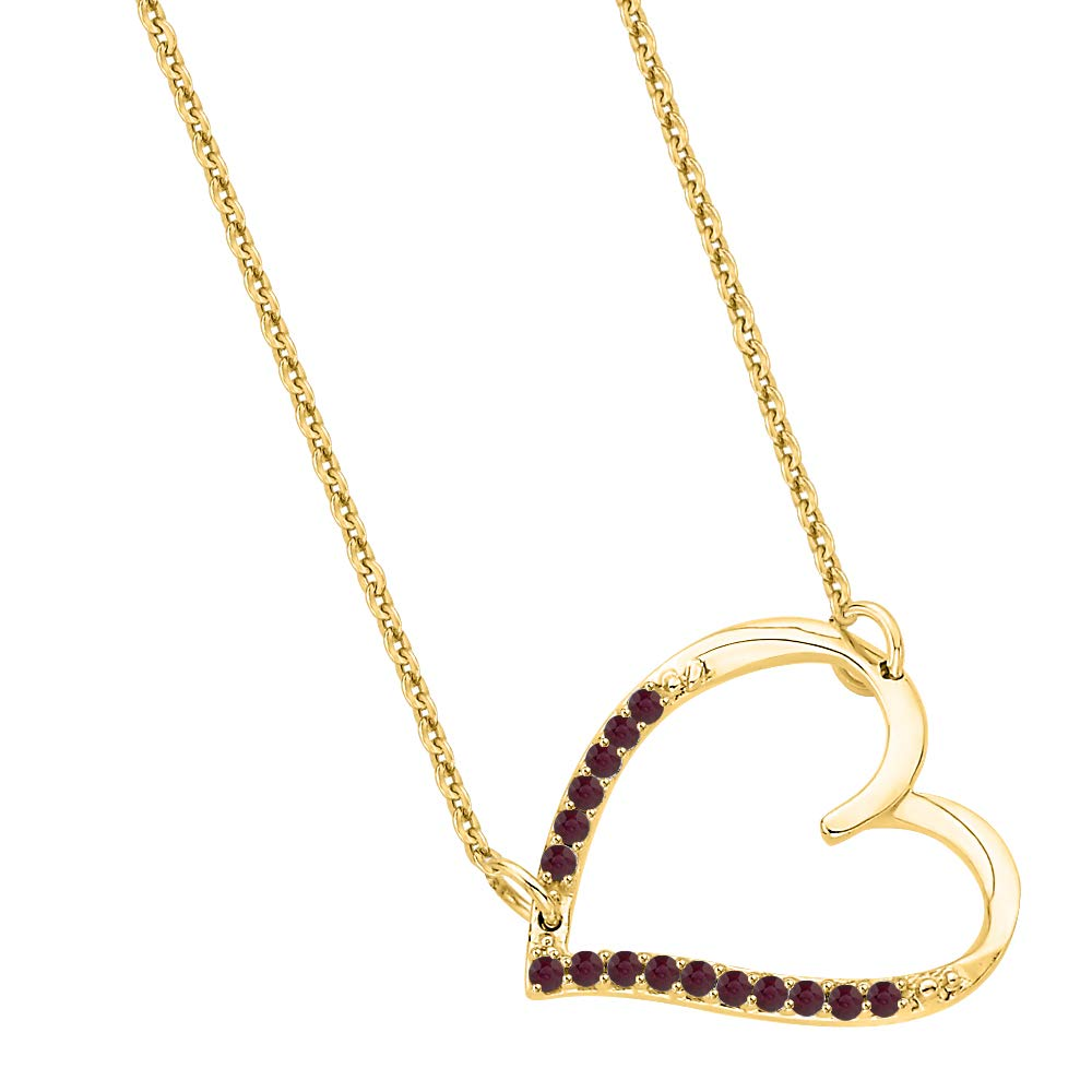 KATARINA Gemstone Prong Setting Heart Pendant Necklace in 14K Gold 1//20 cttw