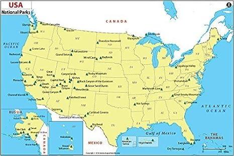 Amazon.com : USA National Park Map - Laminated (36\