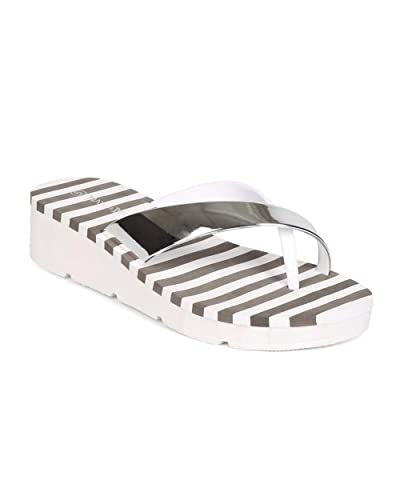 Nature Breeze Women PVC Metallic Slip On Low Wedge Toe Ring Flip Flop ED45 - White
