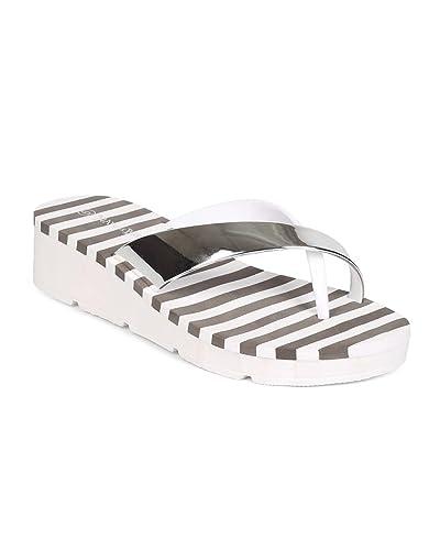 Nature Breeze Women PVC Metallic Slip On Low Wedge Toe Ring Flip Flop ED45 - White