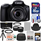 Canon PowerShot SX60 HS Wi-Fi Digital Camera with 16GB Card + Case + Battery + Flex Tripod + Filters + Tele/Wide Lens Kit