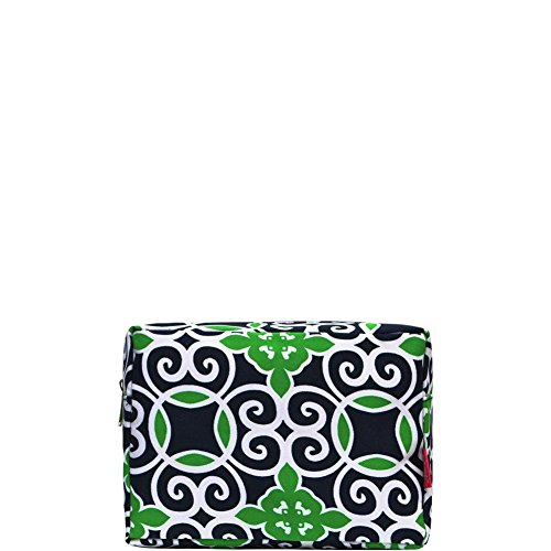 (N. Gil Large Travel Cosmetic Pouch Bag (Geo Green Navy Blue))