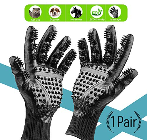 Magicfly Pet Grooming Glove, Enhanced Five Finger Design Pet Glove for Cats, Dogs & Horses with Long or Short Fur, Gentle Deshedding Brush Glove, Rubber Tips for Massage, Black,1 Pair (M)