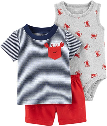 Carter's Baby Boys' 3 Piece Layette Set (Baby) (6 Months, Pocket Crab)