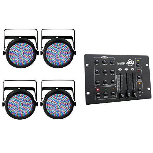 Chauvet SlimPar 64 LED DMX RGB Stage Light (4 Pack) + American DJ DMX Controller by CHAUVET DJ