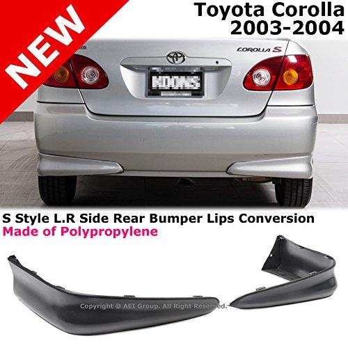 Toyota Corolla 03-04 S Style Rear L+R Lower Body Kit Lip Spoiler PP Black