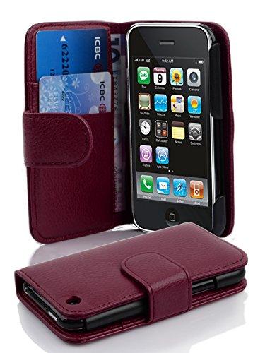4661592ff39 Cadorabo Apple iPhone 3 / 3S / 3GS Funda de Cuero Sintético ESTRUCTURA en  BURDEOS VIOLETA