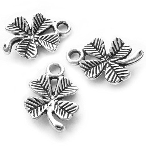 (Heather's cf 130 Pieces Silver Tone Clover Beads DIY Charms Pendants15mmX10mm)
