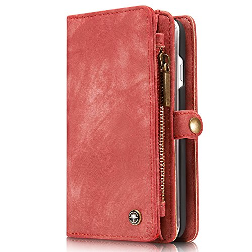 Wallet Case for iPhone 7/iPhone 8, Leather Magnetic Detachable Wallet Cellphone Case Flip Folio [Kickstand Feature] ID&Credit Card Slots Note Pocket for Apple 8/7 4.7 inch for Men Women Red