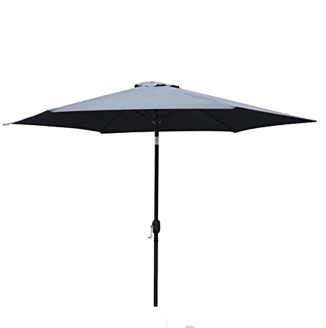 Steel Crank Tilt Patio Outdoor Backyard Deck Umbrella Canopy Black Jordan 9Ft