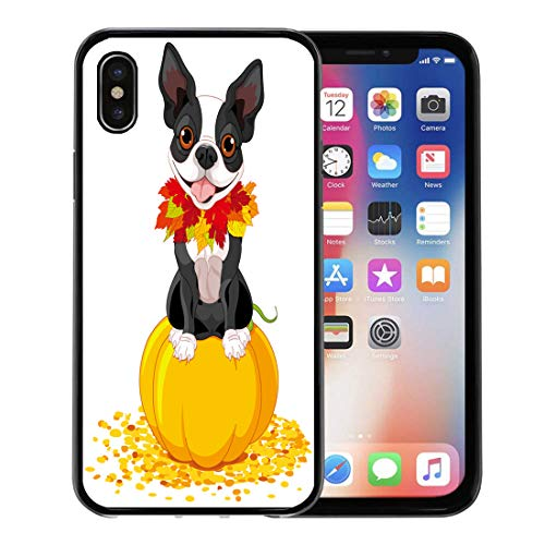Emvency Phone Case for Apple iPhone Xs case,Dog Boston Terrier Sits on Pumpkin Halloween Cartoon Costume Animals for iPhone X Case,Rubber Border Protective Case,Black ()