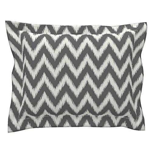 Roostery Ikat Euro Flanged Pillow Sham Charcoal Gray and Ivory Ikat Chevron by Sweetzoeshop Natural Cotton Sateen (Ikat Euro Sham)