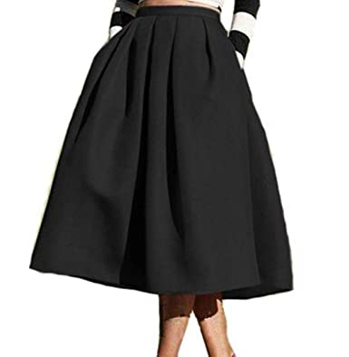 aa0799cec6b EBBiE Zow High Waisted A Line Midi Skirt Skater Pleated Full Street for  Women (Waist27