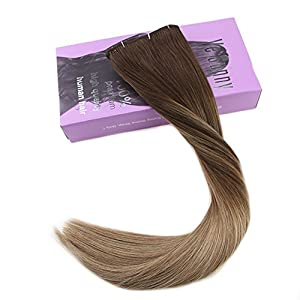 "VeSunny 14"" Clip in Hair Extensions Human Hair Balayage Color #4 Dark Brown Fading to #10 Golden Brown Mixed #16 Golden Blonde Human Clip in Hair Extensions 7pcs 120g/Set"