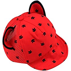 Voberry Toddler Baby Kids Boys Girls Cat Ears Baseball Hat Peak Cap Sun Hat (Red)