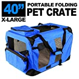Cheap New XL Dog Pet Puppy Portable Foldable Soft Crate Playpen Kennel House – Blue Green Red (Blue)