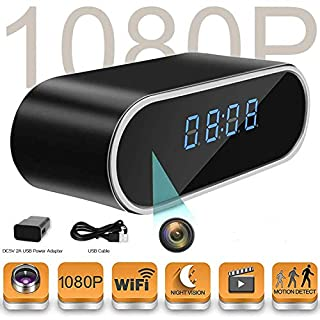 Hidden Camera Clock Spy Wireless Full HD 1080P Home Security Nanny Camera with Low Light Night Vision-Motion Detection Card-Support iOS/Android-12 Hour System