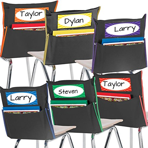 Really Good Stuff Store More Grouping Chair Pockets - Black with Colored Piping and Name Tag - Pocket Chair Organizer Keeps Students Organized and Classrooms Neat (Set of 6)
