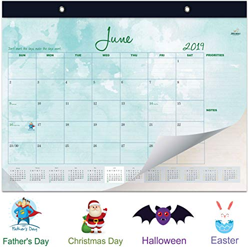 JHeimat (X-Large) Desk Calendar 2019: Tear Away Large Monthly Pages (22 x17 inches) Daily Planner for Desk or Wall - Watercolor Design with Cool Illustrations