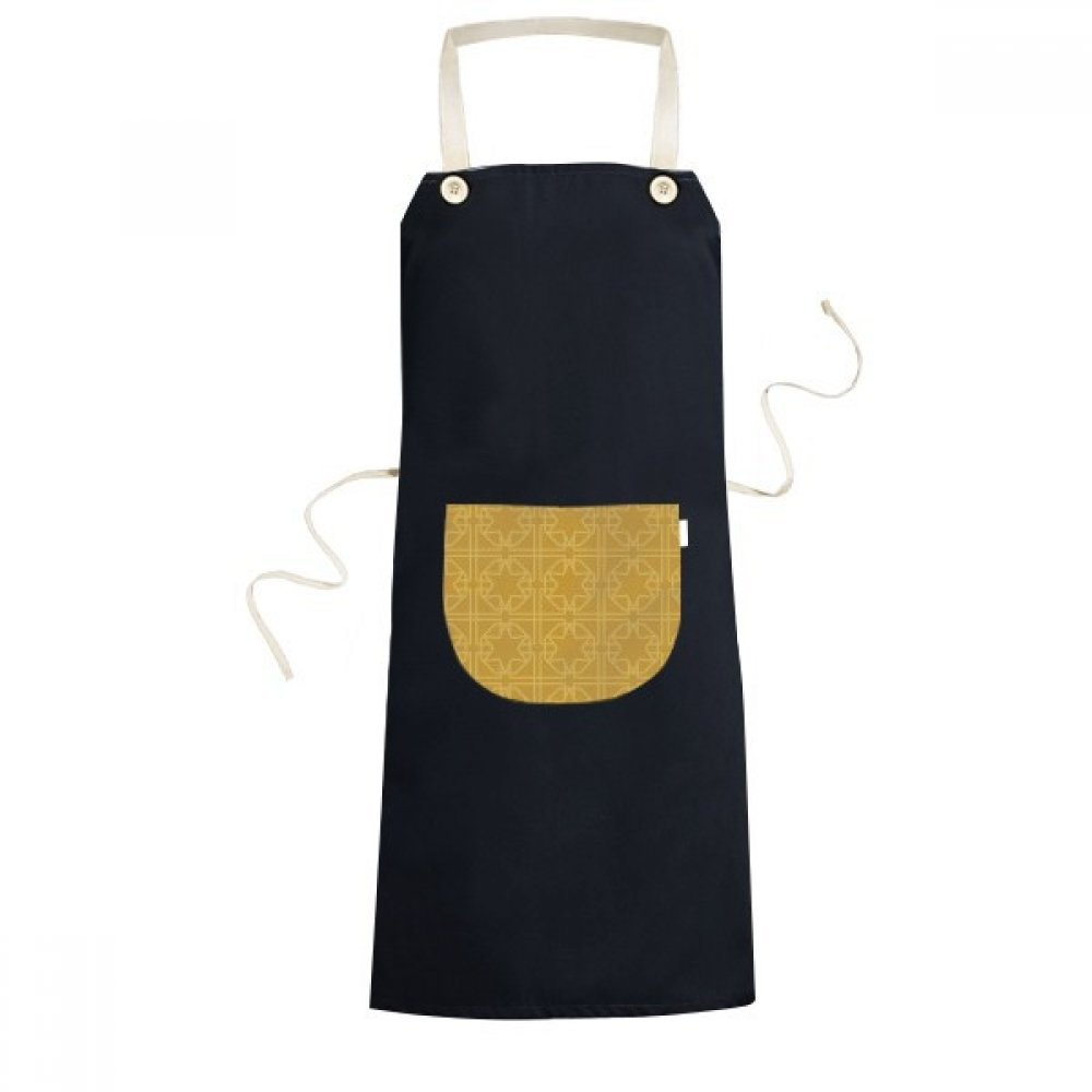 cold master DIY lab Kingdom of Thailand Thai Traditional Customs Golden Weaving Decorative Pattern Satin Shrine Art Illustration Cooking Kitchen Black Bib Aprons With Pocket for Women Men Chef Gifts