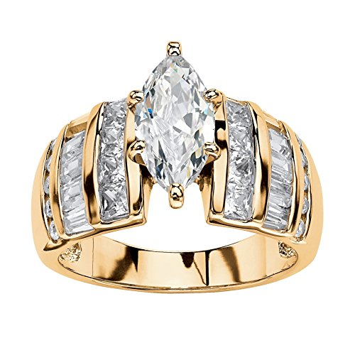 14k Gold Kite (14K Yellow Gold over Sterling Silver Marquise Cut Cubic Zirconia Step Top Engagement Ring Size 10)