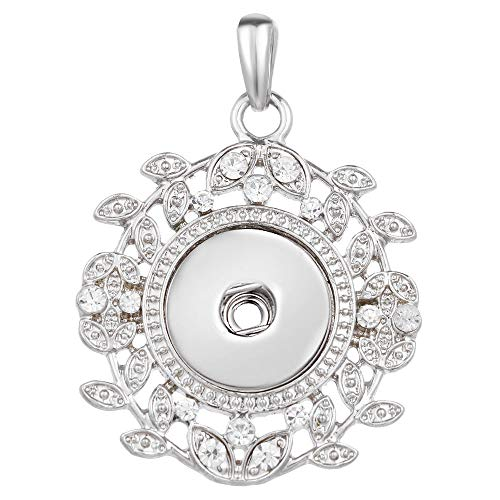 (Women Flower Crystal Jewelry Necklace Pendant Fit 18mm Noosa Snap Button N403)