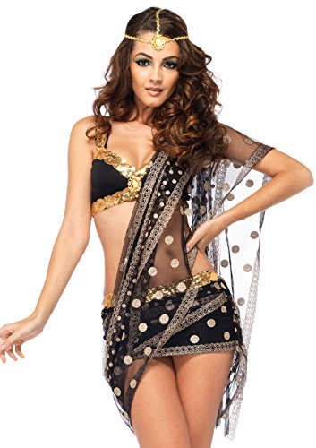 Bollywood Costume Halloween (Leg Avenue Women's 3 Piece Bollywood Darling Costume, Black/Gold,)