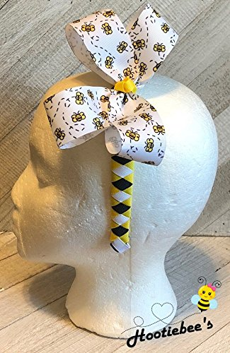 Dizzy Bees Boutique Hair Bow on Woven Headband