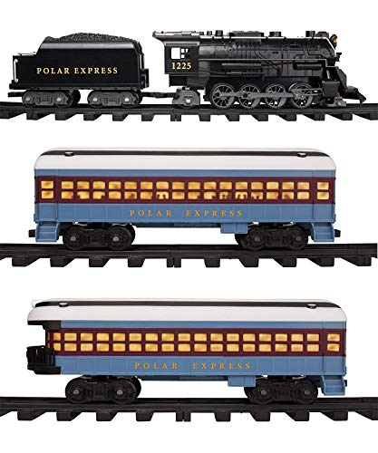 Lionel Polar Express Train Set with Bonus Santa's Bell - Fun, Interactive, Ready to Play Holiday Model Train Set with Working Headlight, Whistle & Bell (Santas Village Express Train Set)