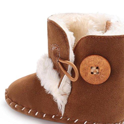 ❆Huhu833 Kinder Mode Baby Stiefel Soft Sole, Warm Schnee Weiche Sohle Schneeschuhe Krippe Kleinkind Stiefel (0-18 Month) Braun