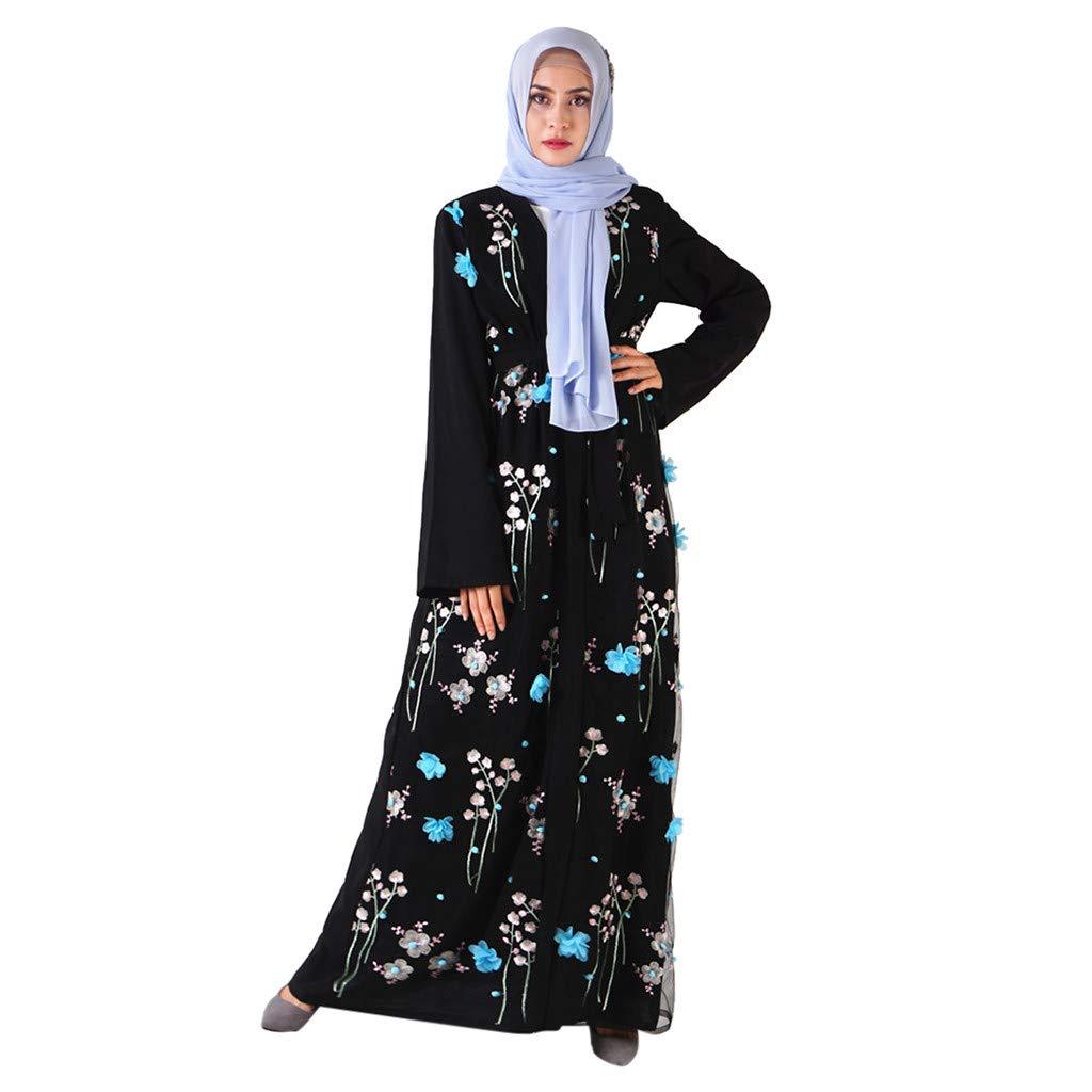 TIFENNY Muslim Cardigan for Women Lace 3D Flower Embroidery Dress Kimono Open Abaya Robe Long Sleeve Outwear Blue by TIFENNY