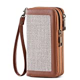 HAWEE Cellphone Wallet Dual Zipper Wristlet Purse with Credit Card Case/Coin Pouch/Smart Phone Pocket Soft Leather for Women or Lady, Grey Linen+Brown