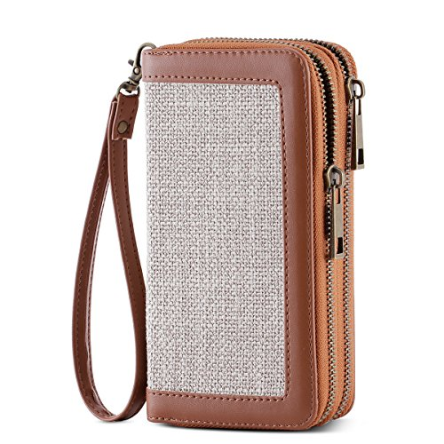 - HAWEE Cellphone Wallet Dual Zipper Wristlet Purse with Credit Card Case/Coin Pouch/Smart Phone Pocket Soft Leather for Women or Lady, Grey Linen+Brown