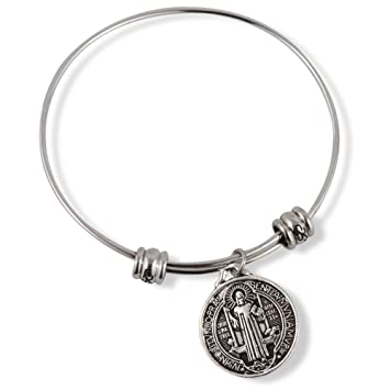 Catholic Gifts Saint St Benedict Medal San Benito Religious Jewelry  Bracelet Bangle for Women
