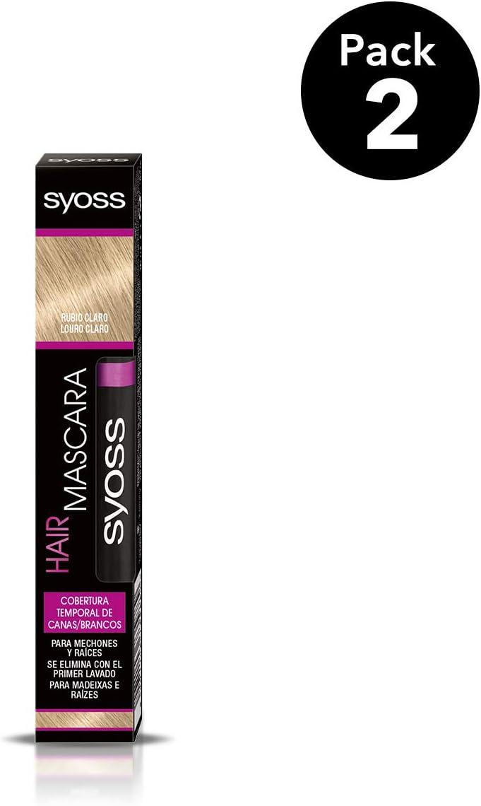 SYOSS - Hair Mascara - Cepillo Cubre Canas - Color Rubio Claro - 2 uds de 16ml