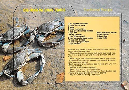 - Del-Mar-Va Crab Cakes Postcard Unused