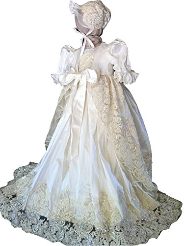 - Newdeve Ivory Lace Beaded White Christening Baptism Gowns Long Unisex (3-6 months)