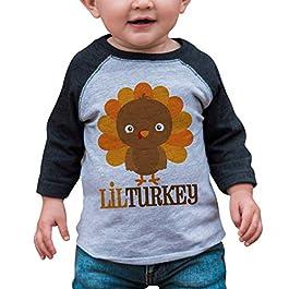 7 ate 9 Apparel Baby Boy's Little Turkey Thanksgiving Grey Raglan
