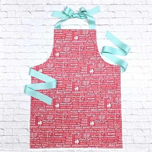 Handmade Encouraging Words Pink Kitchen Art Craft Gift Apron for Girls from Sara Sews, Inc.
