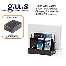 Great Useful Stuff High Gloss Cherry SMART Multi-Device Charging Station with USB+AC Power Hub